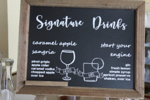 His and hers wedding signature cocktails sign